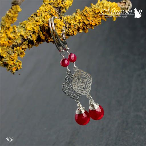 Miracolo, kwarc czerwony, red quartz, red quartz earrings, kolczyki z czerwonymi kwarcami