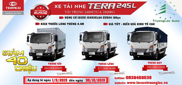 Giá xe tải Tera245L thùng lửng dài 4,4m tải 2t5 2t8