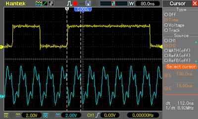 SPI clock and data captured on oscilloscope