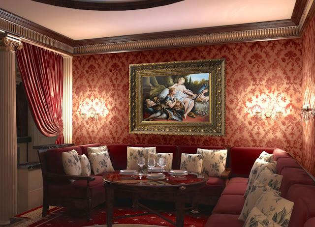 Жанровая картина на фоне красной стены