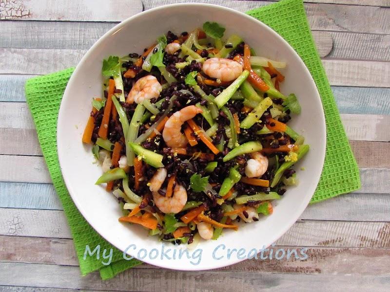 Черен ориз със скариди и зеленчуци * Riso nero con verdure e gamberi