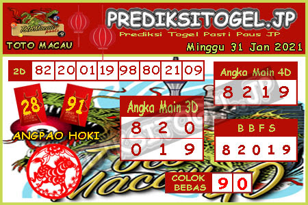 Toto Macau ramalan JP Togel Minggu, 31 Januari 2021