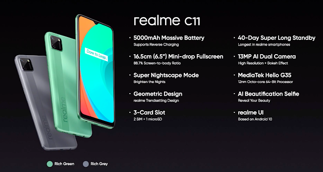 Realme C11 Launched With 6.5inch HD+ Display, 13MP Rear Camera, 5000mAh Battery For Rs. 7499/- & More