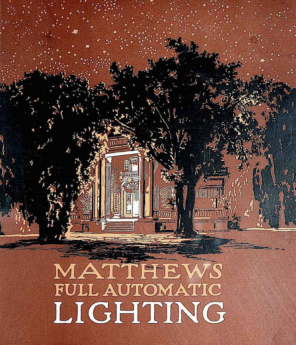 1915 exterior lighting, a color illustration for Mathews full automatic lighting