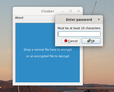 Cloaker file encryptor for Linux, Windows and macOS