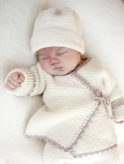 Easy Garter Stitch Sideways Baby Cardigan - Free Knitting Pattern