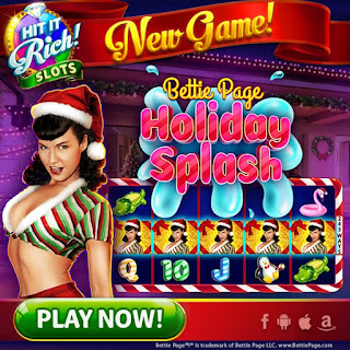 New game at Hit It Rich! Slots is Bettie Page Holiday Splash