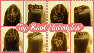 Cute and easy half top knot halrstyle variations, video tutorial.