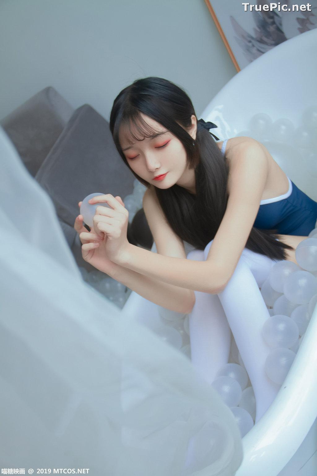 Image [MTCos] 喵糖映画 Vol.046 – Chinese Cute Model – Blue Monokini In Bathtub - TruePic.net - Picture-8
