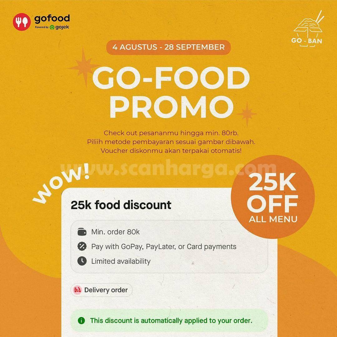 Promo GOBAN Takeout Diskon Rp. 25.000 khusus pemesanan via GOFOOD