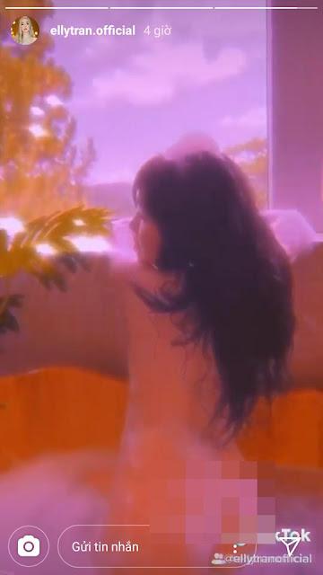 Elly Trần đăng clip khỏa thân tắm bồn, lộ rõ vòng 3 trước ống kính