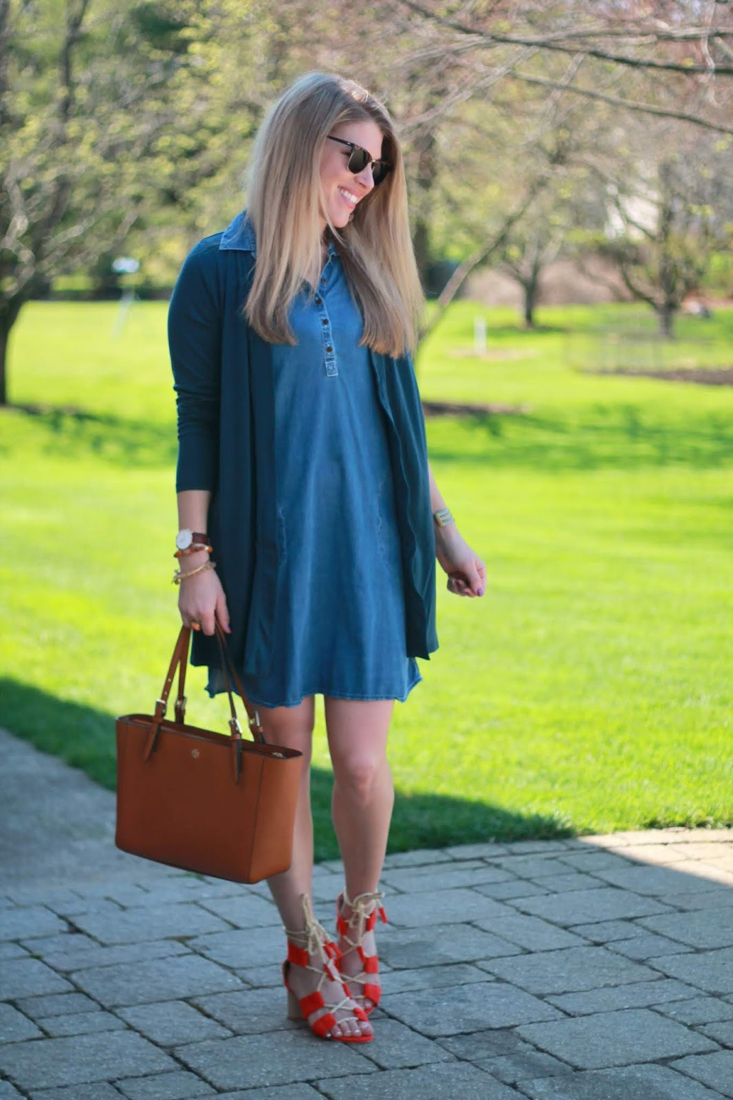 sleeveless chambray dress, navy cardigan, orange sandals, Tory Burch tote,