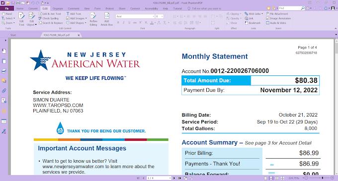 PDF – NEW JERSEY AMERICAN WATER BILL EDITABLE PDF TEMPLATE