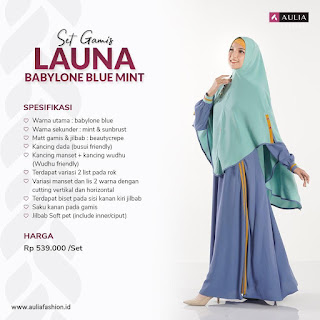 Koleksi Gamis Syari Muslimah Launa Babylone Blue Mint Set Syari by AULIA Fashion