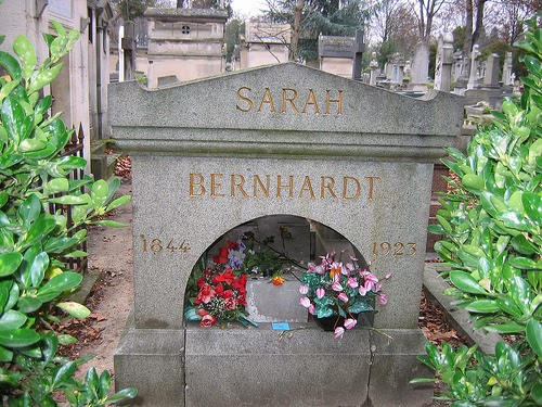 Sarah Bernhardt grave site at the Pere Lachaise Cemetary Paris, France