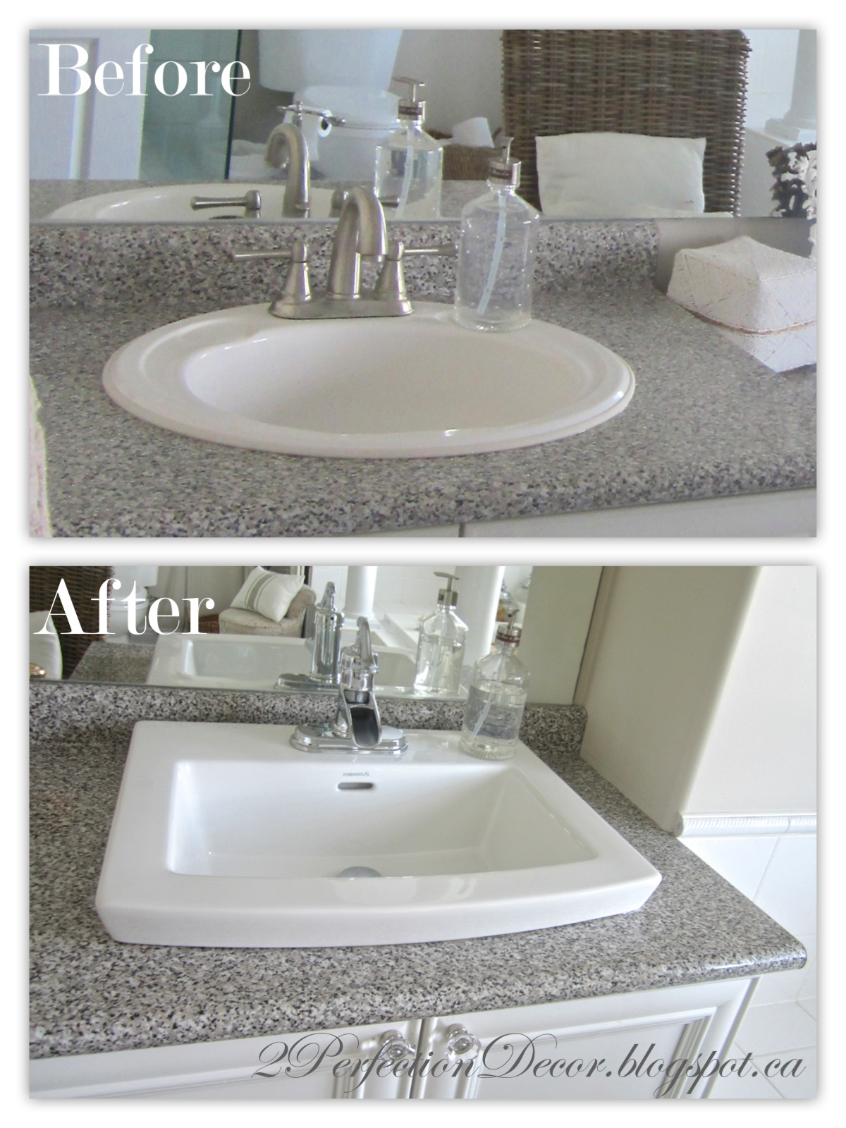 2Perfection Decor: Updating Old Bathroom Sinks.. While Re