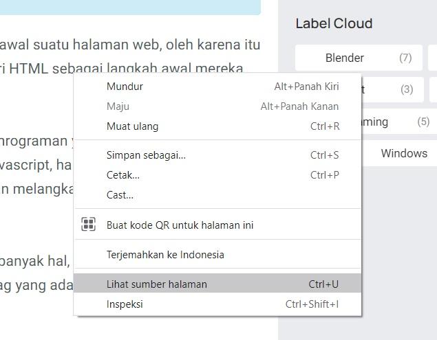 sumber halaman html