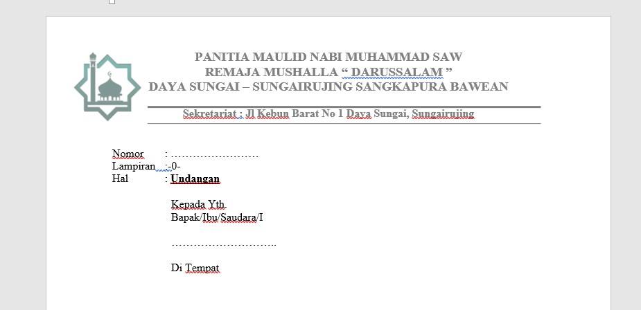 Contoh Undangan Maulid Nabi Muhammad SAW