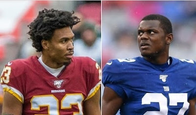 image result for New York Giants cornerback Deandre Baker and Seattle Seahawks cornerback Quinton Dunbar who were each charged with armed robbery with a firearm have turned themselves in to the police.