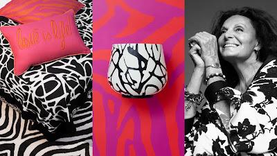Diane von Furstenberg x H&M. Almohadas y maceta de la colección.