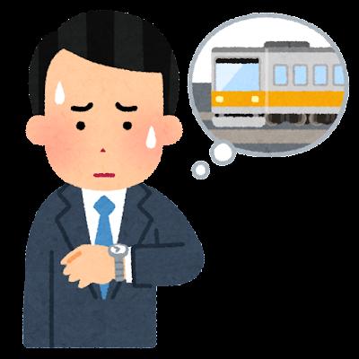 電車の遅延の心配をする人のイラスト(男性)