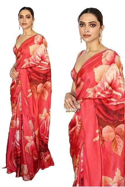 Deepika-Padukone-Red-Saree