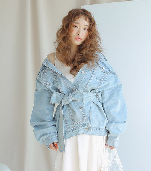 Self-Tie Strap Denim Jacket