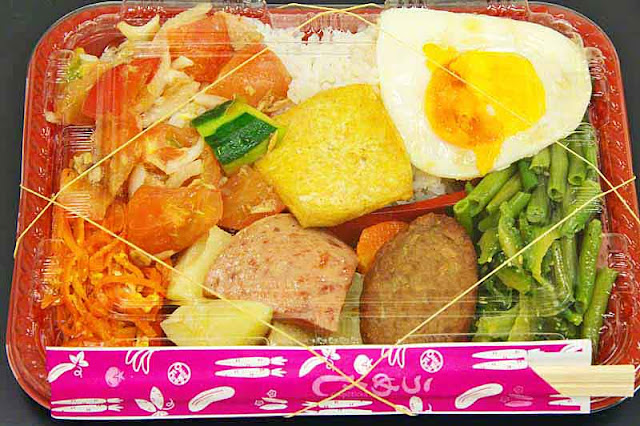 wrapped bento, rubber bands, chopsticks,vegetables,meats, salad, egg