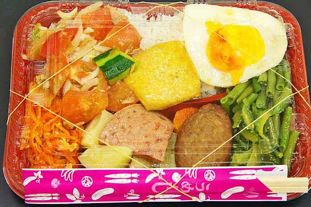 wrapped bento, rubber bands, chopsticks,vegetables,meats, salad, egg