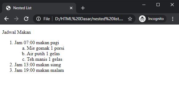 nested list HTML