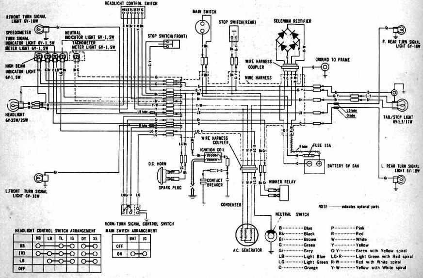 honda cl100 motorcycle 1970-1973 complete wiring diagram ... 1982 honda ct70 wiring diagram 1970 honda ct70 wiring diagram #7