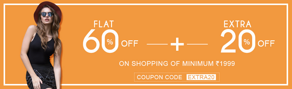 Flat 60% Off+Extra 20% Off on shopping of minimum Rs-1999 at oxolloxo