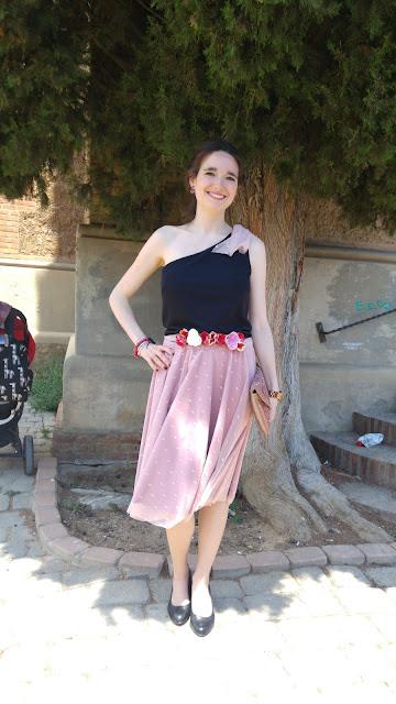 modistilla de pacotilla falta tul plumeti rosa boda chaqueta lentejuelas seamwork style handmade pink tulle skirt sequined jaquet wedding cinturon flores floral belt