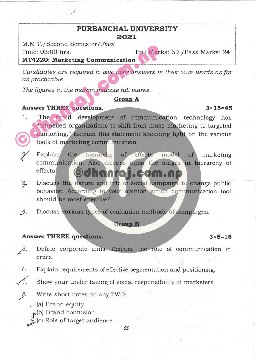 Marketing-Communication-MT4220-Exam-Question-Paper-2078-2021-Purbanchal-University-PU