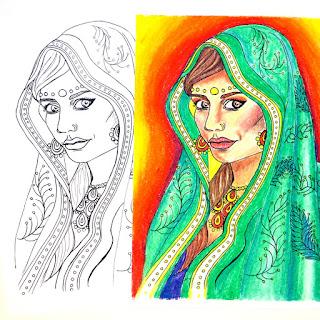 India Girl Printable Coloring Page Printable FREEBIE