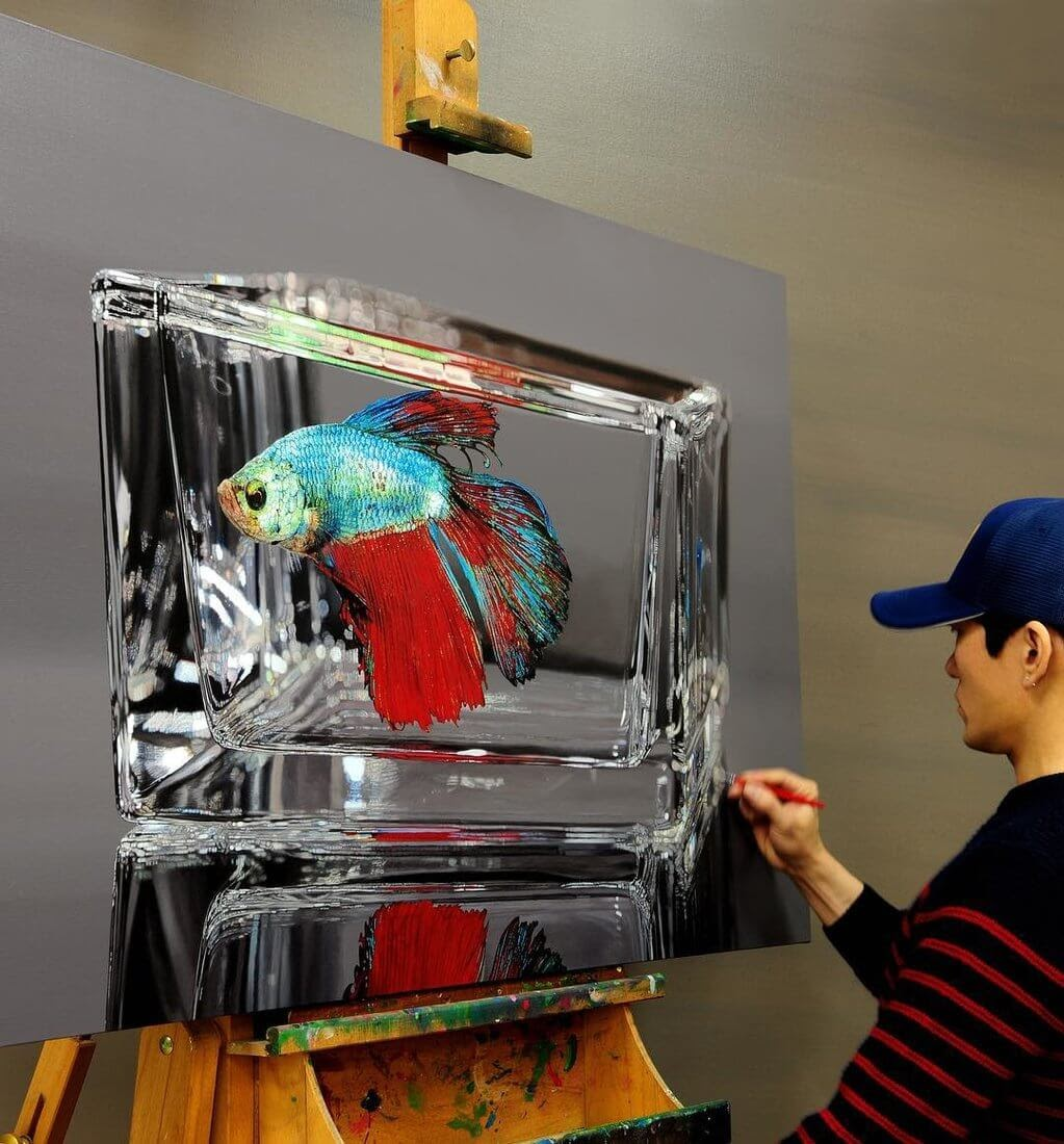 08-Siamese-fighting-fish-Young-sung-Kim-Realistic-Animal-Oil-Paintings-on-Canvas-www-designstack-co