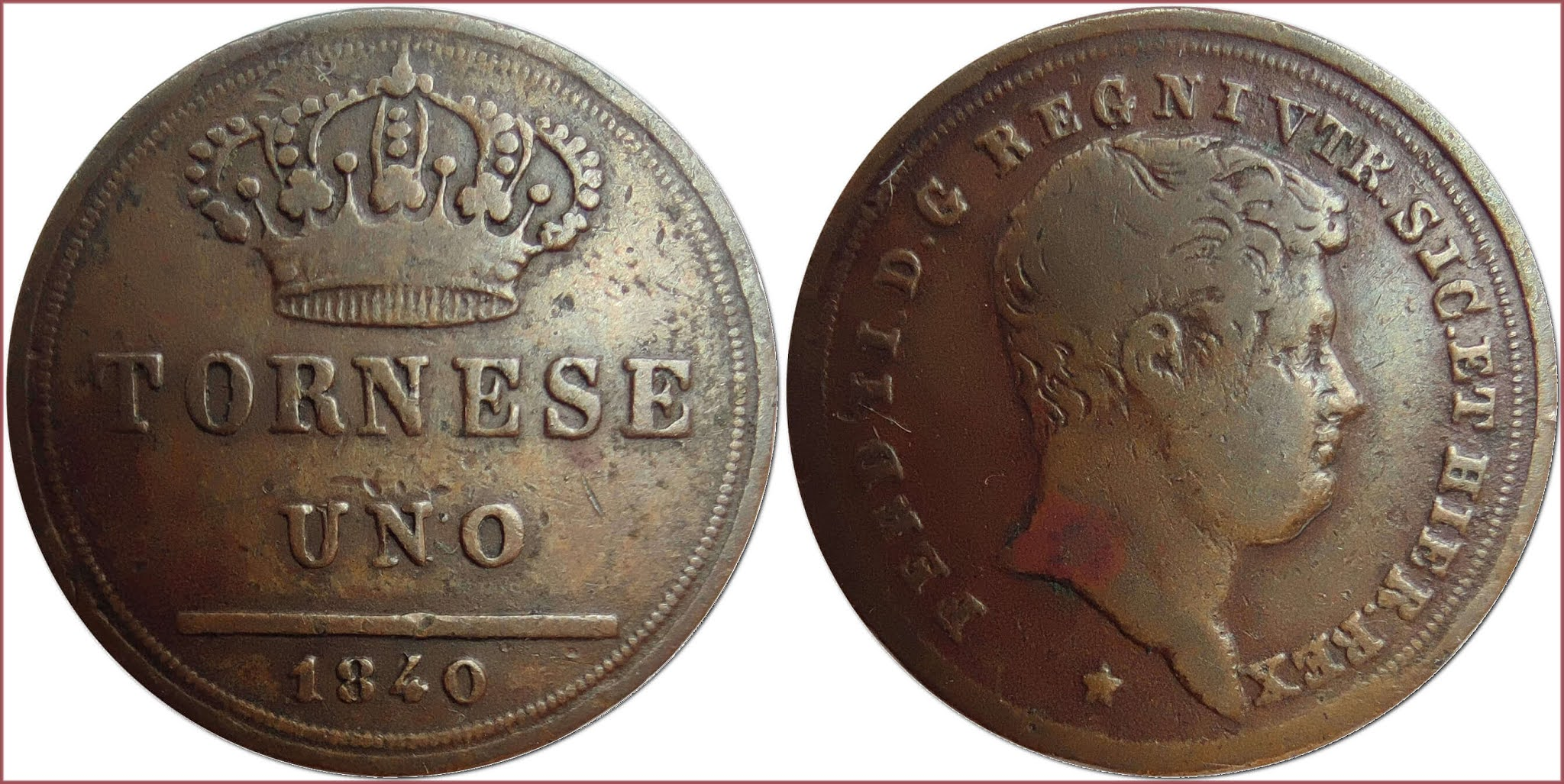 1 tornese, 1840: Kingdom of the Two Sicilies