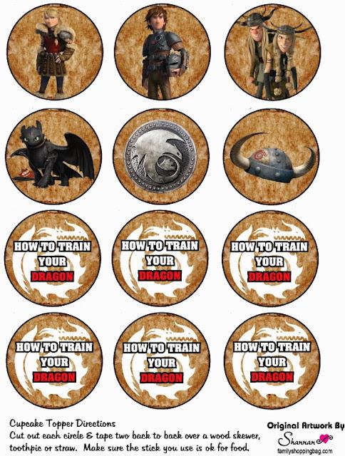 Toppers o Etiquetas  para Imprimir Gratis de Cómo entrenar a tu Dragón 2.