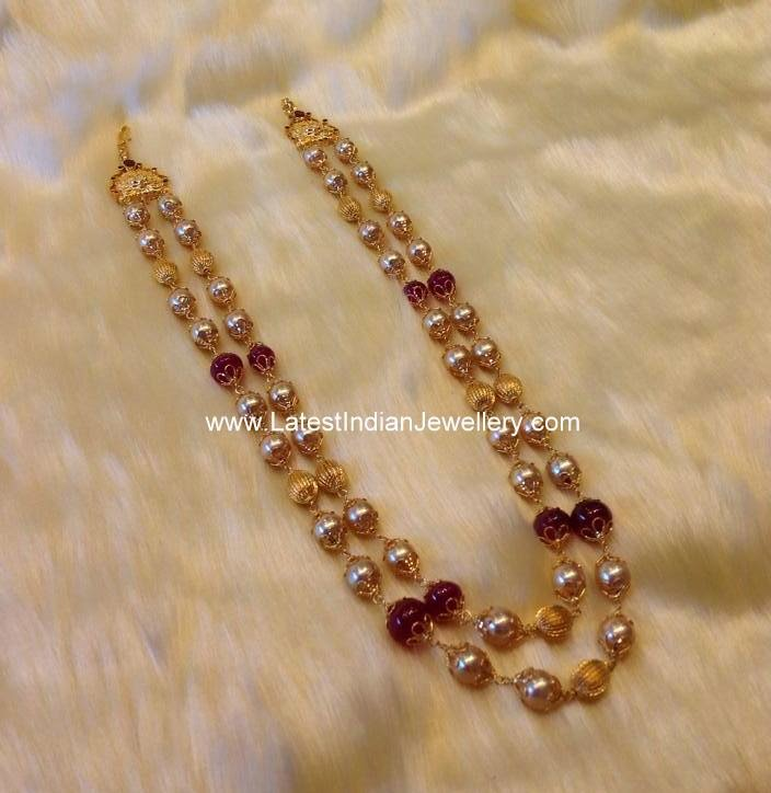 2 Row Pearl Beads Necklace Latest Indian Jewellery Designs