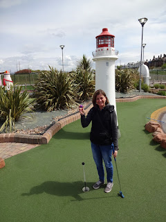 Emily after her ace on the lighthouse hole