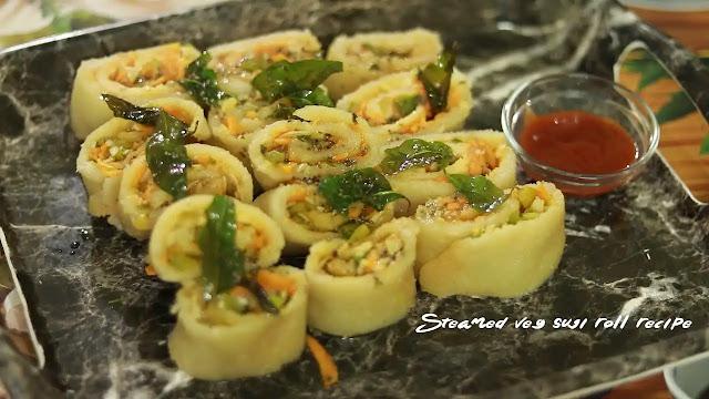 Steamed veg suji roll recipe