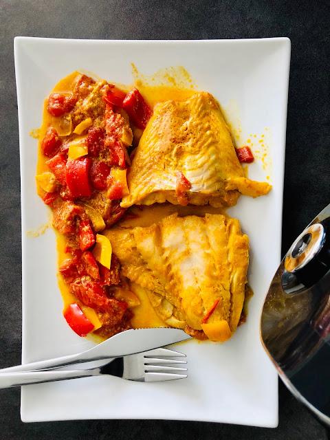 Cabillaud à l'indienne - Poivrons, curry, curcuma, tomates - Cookeo