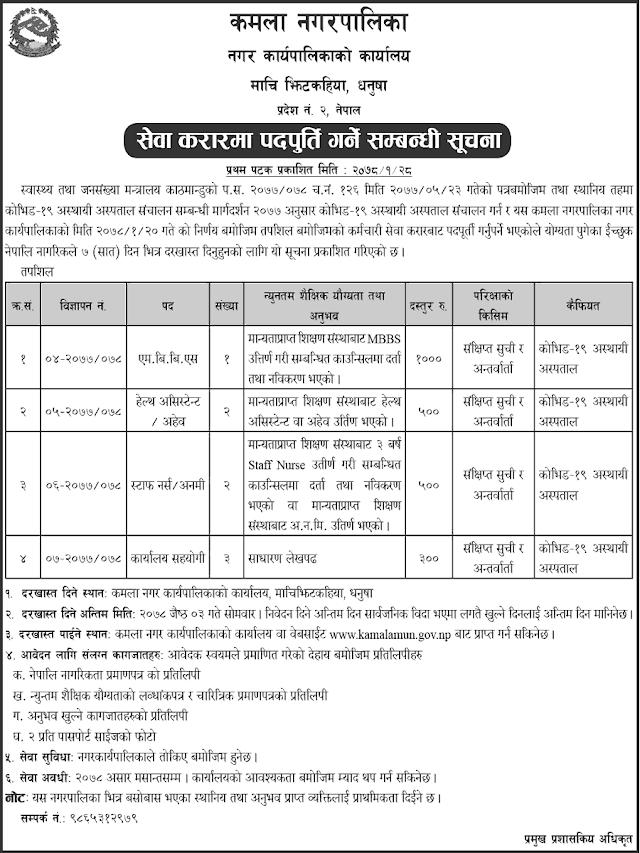 Kamala Municipality Dhanusa Vacancy Announcement