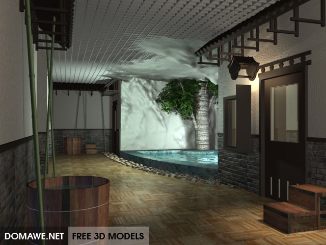 Asian sauna interior 3d model free download for 3d interieur ontwerpen gratis