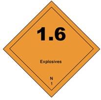 hazmat Class 1 Explosives division 1.6 placard