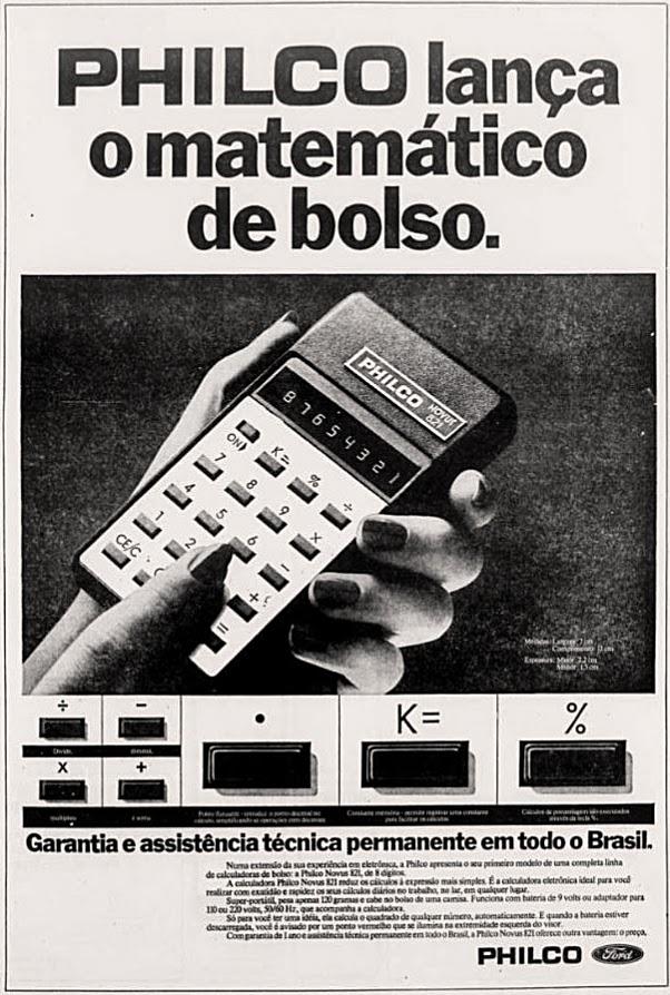 Propaganda da Philco em 1975 promovendo sua primeira calculadora de bolso