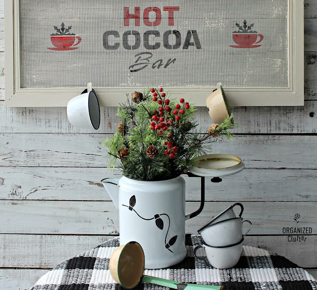 An Upcycled/Repurposed Window Screen Hot Cocoa Bar Sign