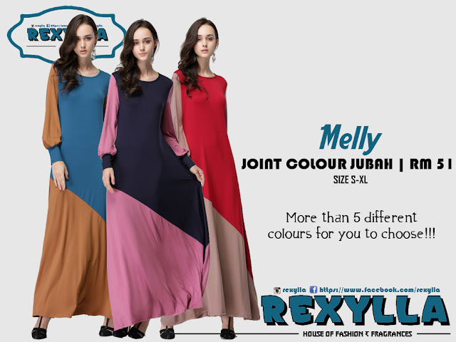 rexylla, joint colour, jubah, melly collection