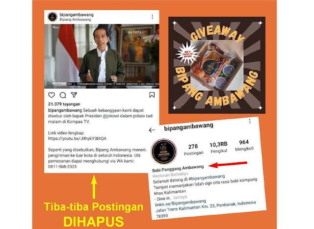 HAHA.. Awalnya BANGGA Disebut Oleh Presiden Jokowi, Tak Lama Postingan DIHAPUS, Ada Yang Cuci Tangan? Atas Desakan Pihak Lain?