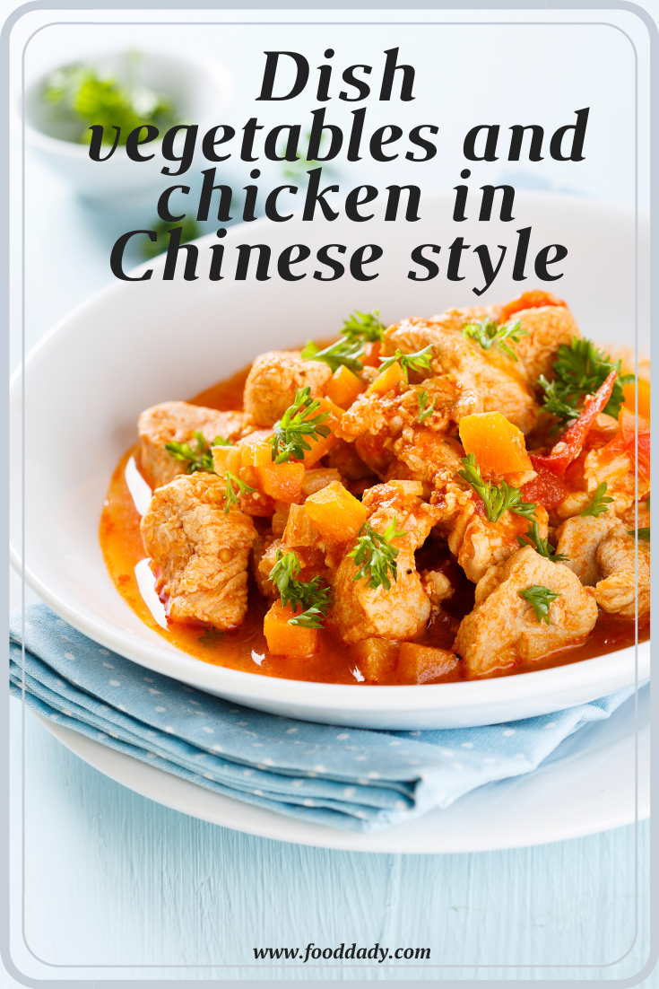Dish vegetables and chicken in Chinese style for your diet